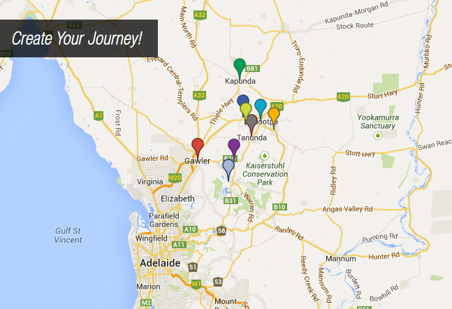 Towns in the Barossa Valley Map