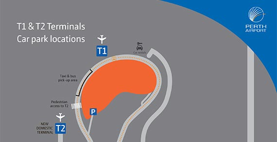 Perth Airport Map Terminals 1 and 2