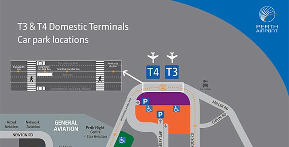 Perth Airport Map Terminals 3 and 4