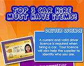 Top 3 Car Hire Must Have Items Infograph